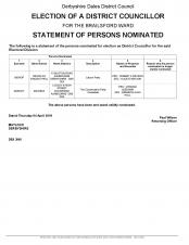 Statement of Persons Nominated District Council